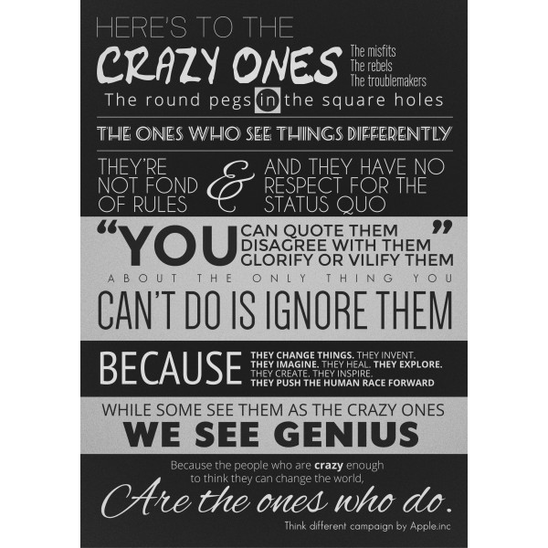 Here's To The Crazy Ones - Steve Jobs Quote - Poster