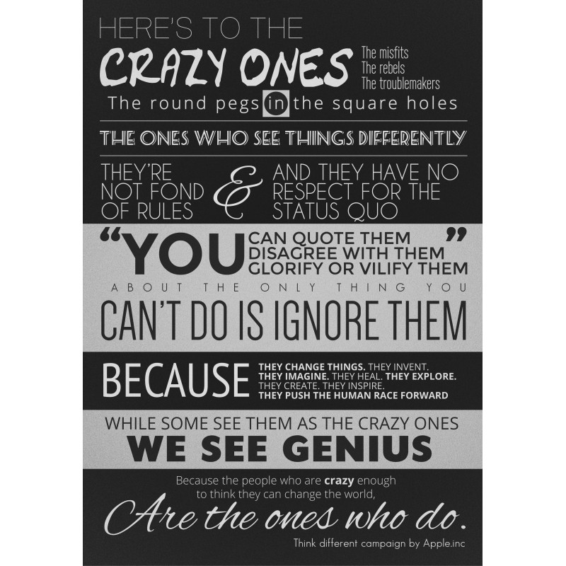 eb2a3014e04 Here's To The Crazy Ones - Steve Jobs Quote - Poster
