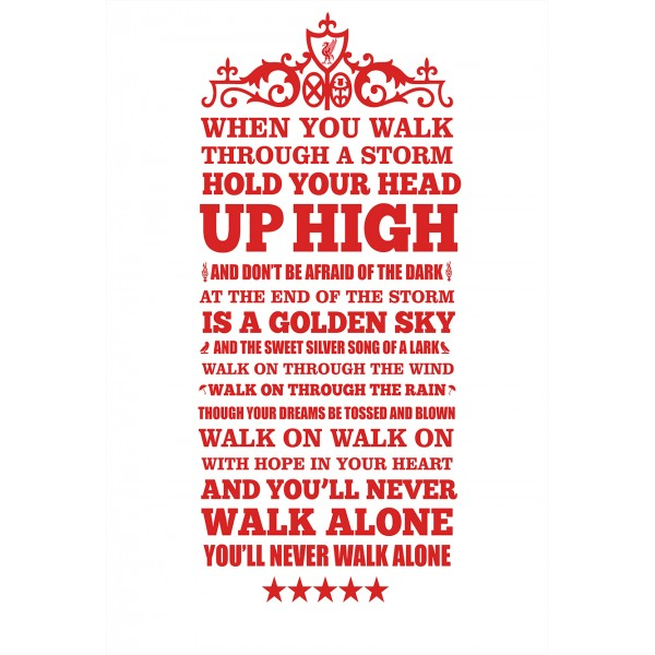 Liverpool - You'll Never Walk Alone -  Typographic Poster