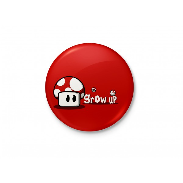 Grow Up Mario! - Red Mushroom Minimalist Badge