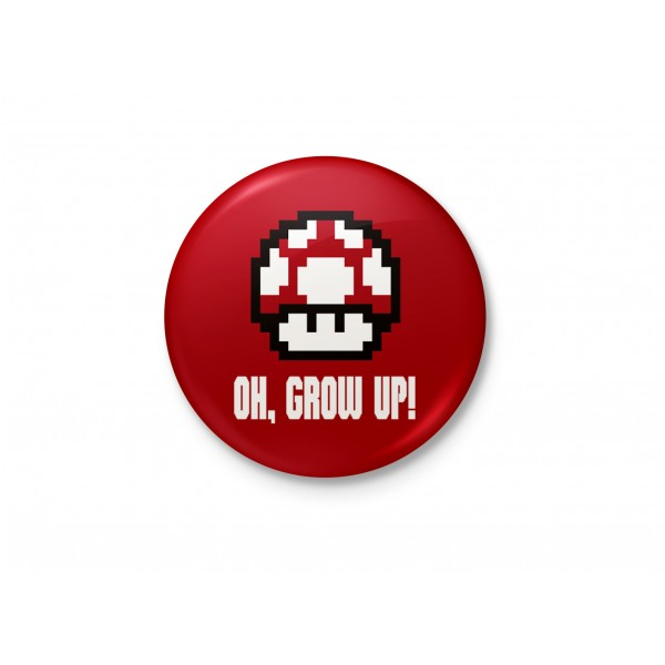 Grow Up Mario! - Mushroom Minimalist Badge