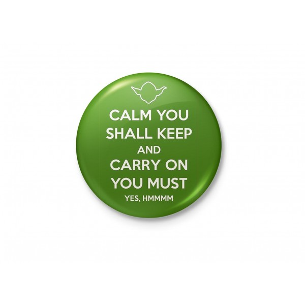 Yoda - Keep Calm and Carry On - Funny Minimalist Badge