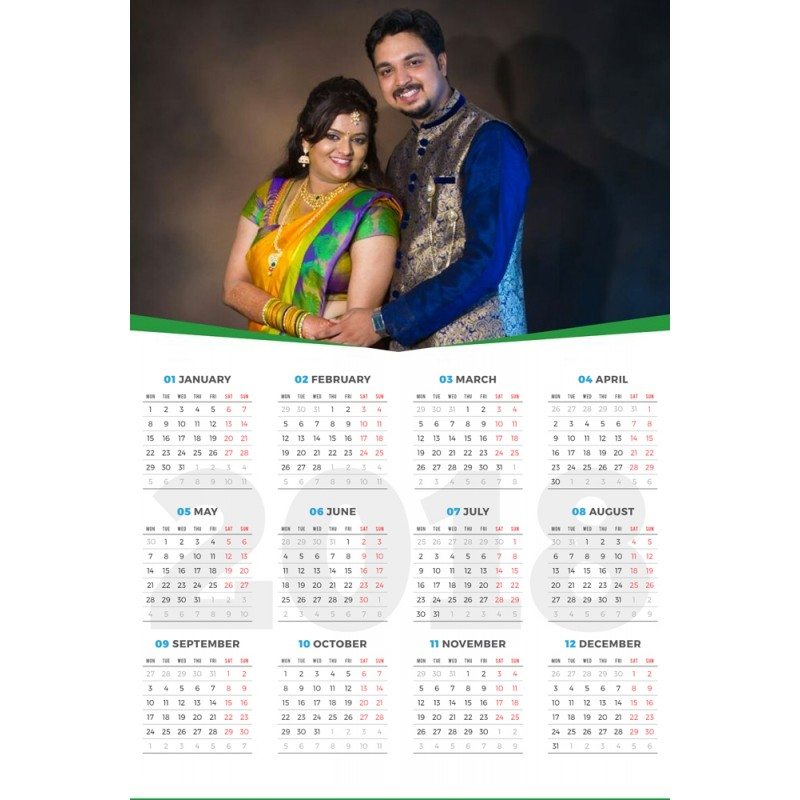 personalized photo 2018 calendar wall poster