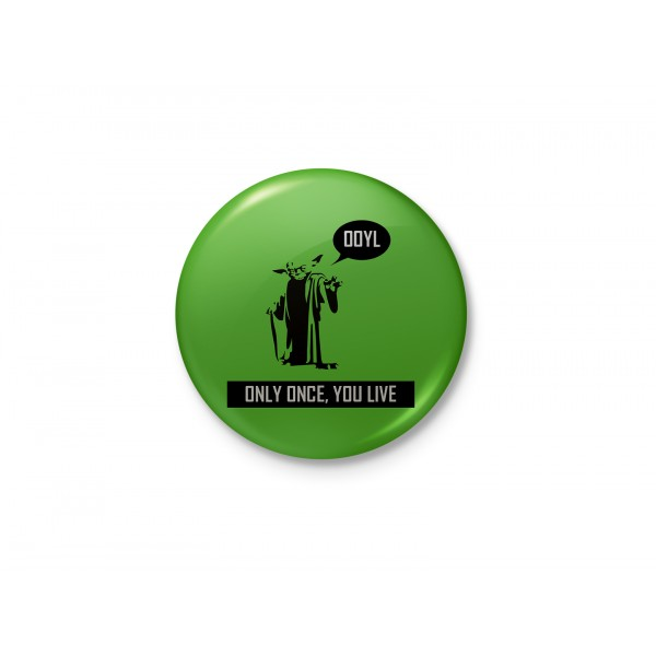 Yoda - YOLO - Only Once, You Live - Funny Minimalist Badge