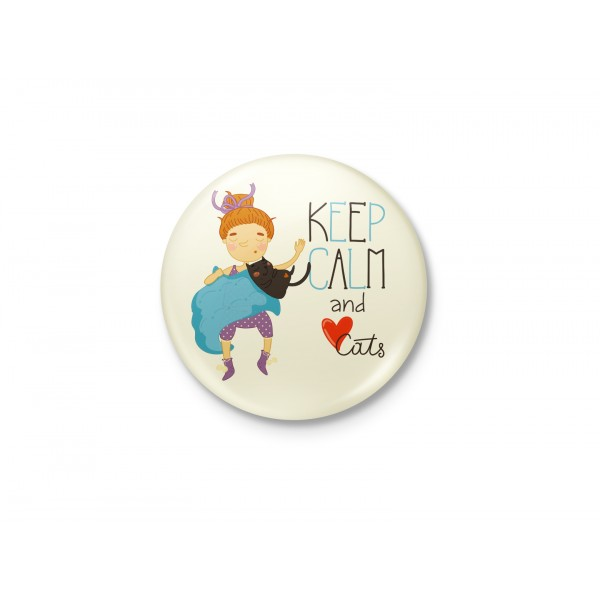 Keep Calm And Love Cats Badge
