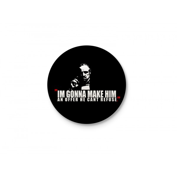 Godfather Minimalist Typography - Make Him An Offer He Can't Refuse Badge