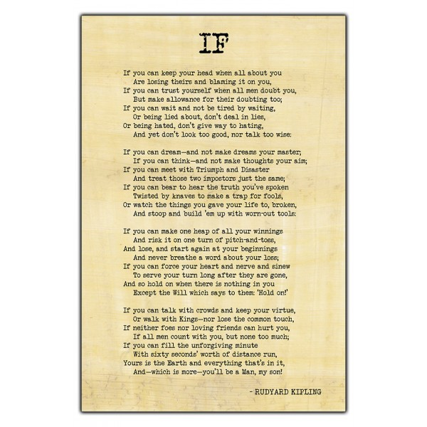 If By Rudyard Kipling, Famous Inspirational Poem - Wall Poster